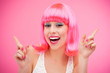 Beautiful woman wearing pink wig