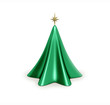 3d  Isolated shiny Christmas tree with star on top