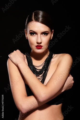 glamor sexy model with red lips,bright makeup