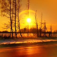 Misty golden sunset