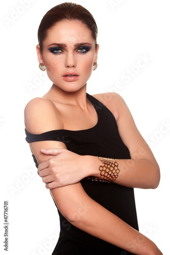 glamor beautiful sexy stylish woman in black cloth