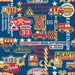 Kid trucks seamless pattern