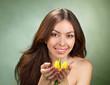 beautiful young women with tulip