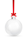 Christmas glass ball with red bow - 47718992