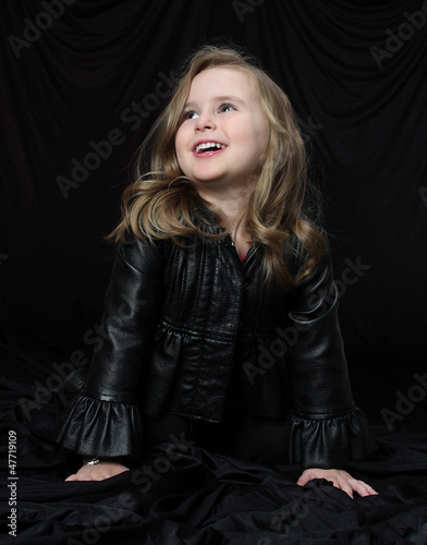 Cute Girl in Black Leather Coat