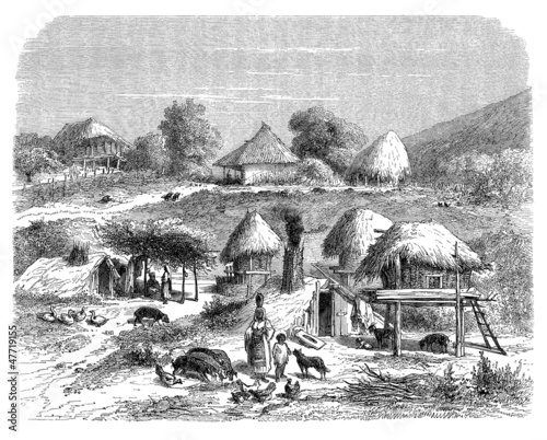 Poor Gipsy Village - East Europe - 19th century