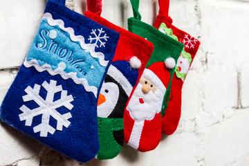 Christmas socks on the white wall