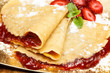 crepes with fresh strawberries and jelly