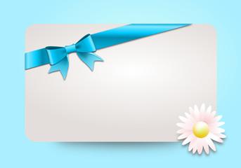Geschenkgutschein mit Schleife und Gänseblümchen