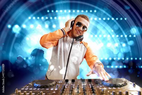 Leinwandbild Motiv dj and mixer