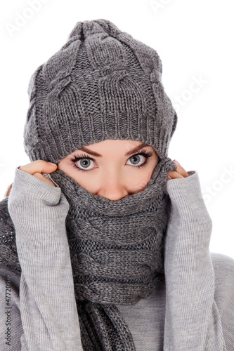 woman with hat and scarf, white background