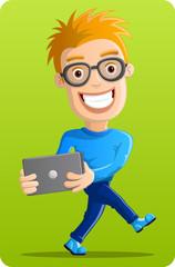 Computer Geek  - Dancing with laptop