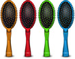 Set of colored hair brush. Vector