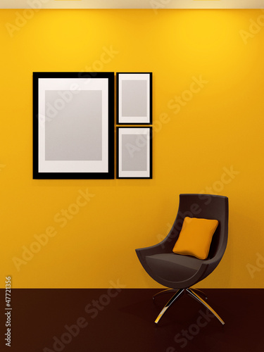Gallery interior with an armchair, yellow wall