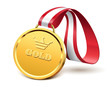 Golden medal isolated on white background, vector illustration