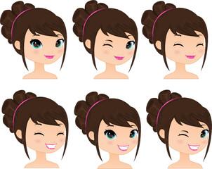 Pretty Girl Happy Expressions