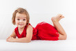 Cute playful little girl relaxing