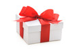 Gift box with red ribbon and bow