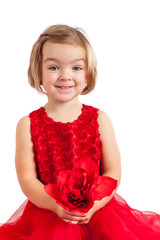 Beautiful little girl in red