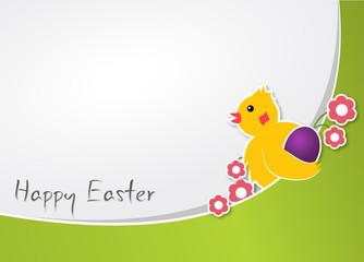 Easter card with a chicken and flowers