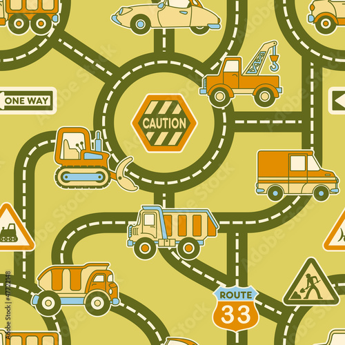 Foto Spatwand Op straat Cute map of urban traffic - seamless vector pattern