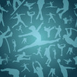 Sports silhouettes blue seamless pattern
