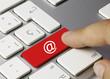 E-mail keyboard key. Finger 2