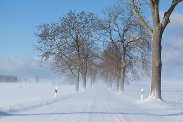 winterliche Straßen im Herbst
