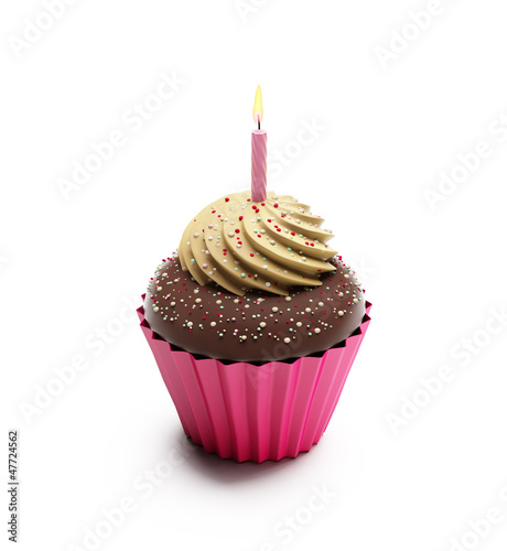 Birthday chocolate cupcake, sweet dessert with whipped cream