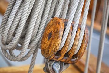 Takelage auf einem Segelschiff
