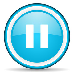 pause blue glossy icon on white background