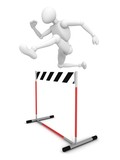 3d man jumping over the hurdle barrier poster