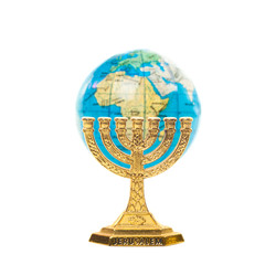 Golden Menorah and globe in shallow DOF