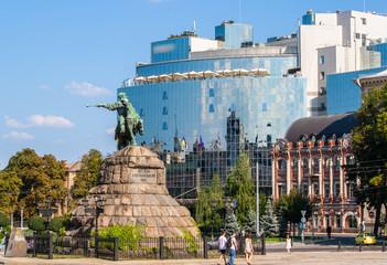 The Bogdan Khmelnitsky monument at Sofiyska Square in Kyiv
