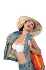 Woman flashing her bikini