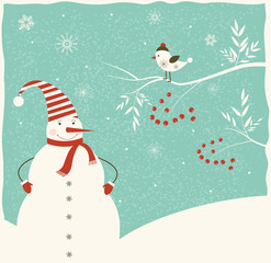Christmas decoration with snowman  and bird.