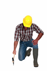 Tradesman using an axe