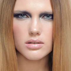 Make-up cosmetics Closeup portrait of beautiful woman