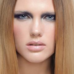 Make-up cosmetics Closeup portrait of beautiful woman