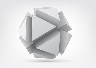 Vector polyhedron with triangular extruded faces
