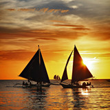 Fototapety sailing on sunset. Boracay island,Philippines