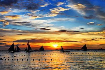 sailing on sunset. Boracay island,Philippines