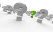 Fragezeichen in Reihe - Grün Weiß