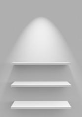 Drei Regale an Wand mit Beleuchtung - Weiß