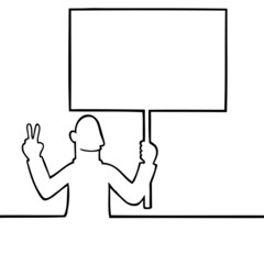 Black line art illustration of man holding a peace protest sign.