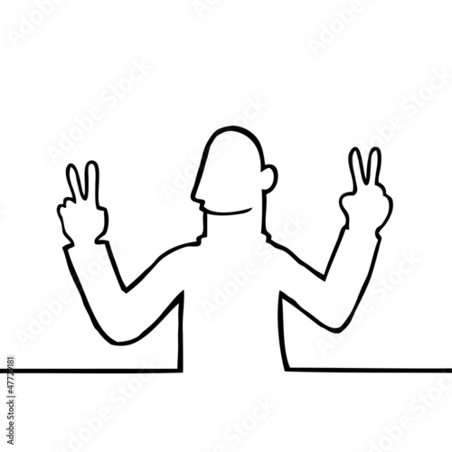 Black line art illustration of a man showing a peace sign.