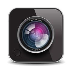 Color photo camera icon, vector Eps10 illustration.