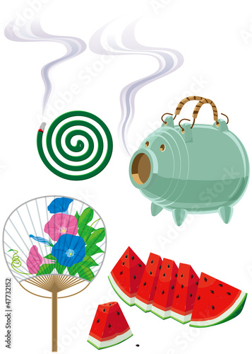 夏の風物 香取線香 豚 西瓜 団扇