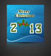New year stylish 2013 merry christmas font blue colorful card ve