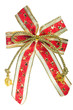 golden and red gift bow